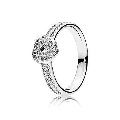 b4c523dce Amazon.com: PANDORA Sparkling Love Knot Ring, Clear CZ 190997CZ-52 EU 6 US:  Jewelry