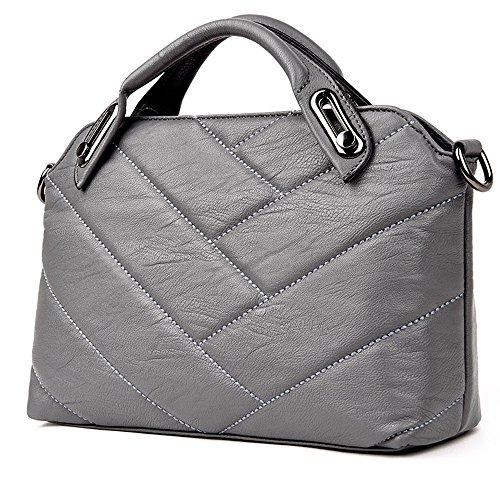 GWQGZ Nuevo Señoras Bolso Bolso Moda Pu Xiekua Package Brown Gray
