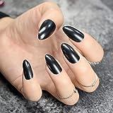 EchiQ - Clavos falsos de color negro y ovalado, punta afilada, punta puntiaguda,