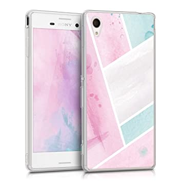 kwmobile Funda para Sony Xperia M4 Aqua - Carcasa de [TPU] para móvil y diseño con Parches de Acuarela en [Rosa Claro/Menta/Blanco]