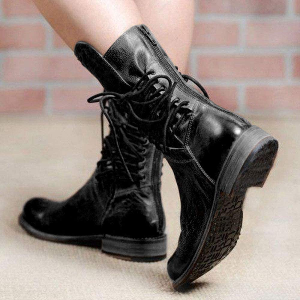 BRAND NEW GIRLS LACE UP ZIPPIER MID CALF LOW HEEL ANKLE BOOTS