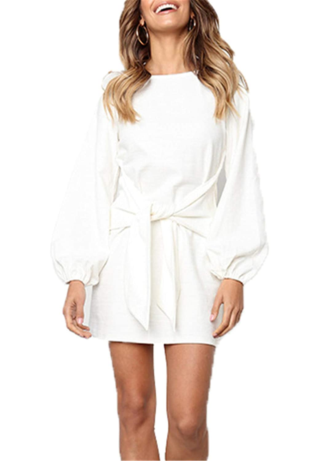 e95e25589a onlypuff Tie Front Dress for Women Puff Sleeve Tunic Casual Round Neck  Belted White M at Amazon Women s Clothing store