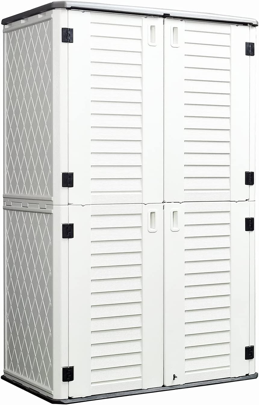 ADDOK Vertical Storage Shed Weather Resistance, Lockable Storage Unit Multi-Function, Durable Outdoor Tool Storage Cabinet for Patio, Garden, Backyards(Off-White, 52 Cubic Feet)