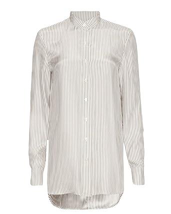 c7ed88ba1a01c9 Frame Denim Striped Elongated Shirt M at Amazon Women s Clothing store