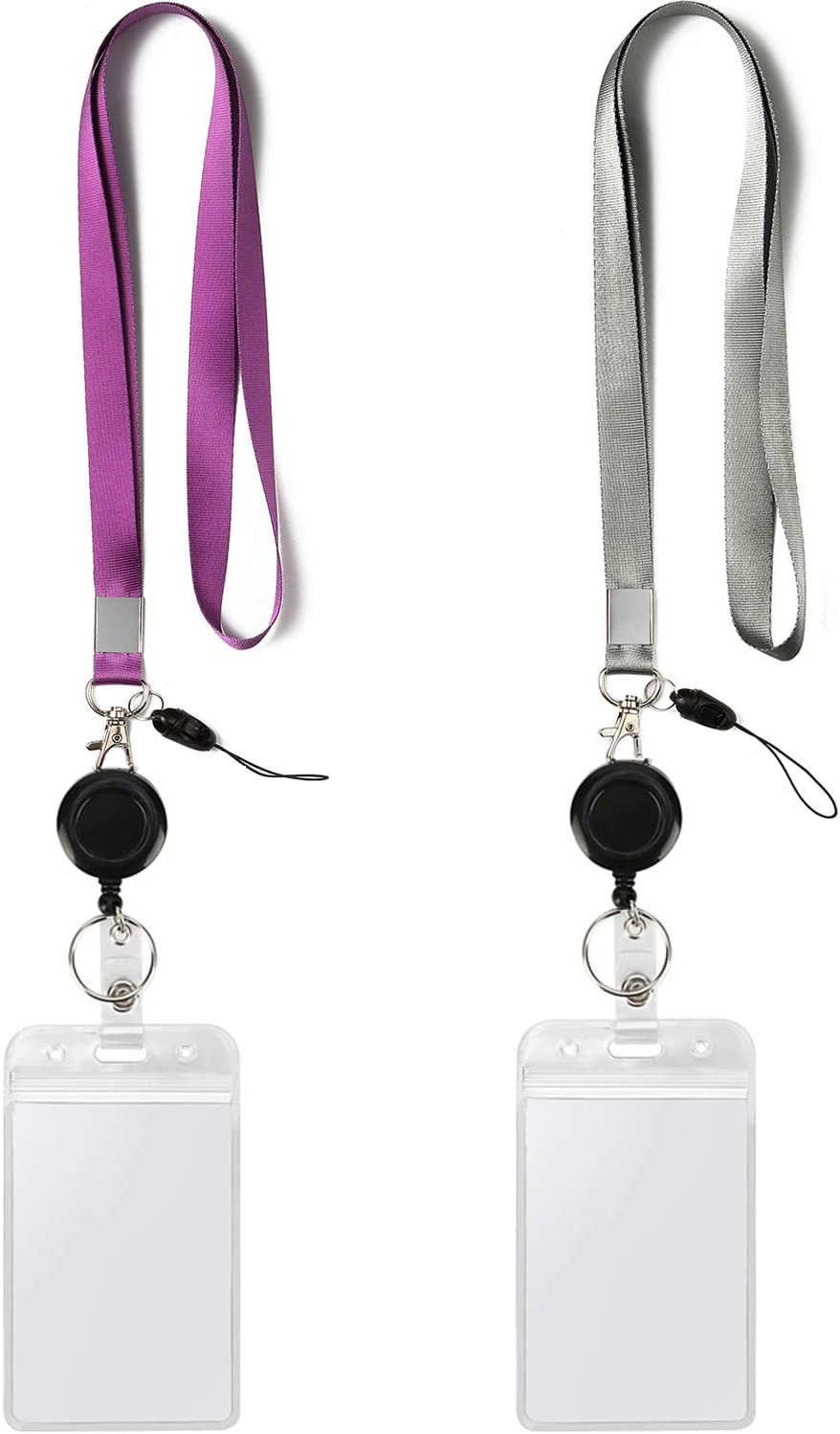 2 Pack Id Badge Holders With Purple Lanyards And Retractable Badge Reel Office Neck Grey Lanyard With Vertical Heavy Duty Id Holder Card Holder Punched Zipper Waterproof Resealable Clear Plastic Office Products Amazon Com