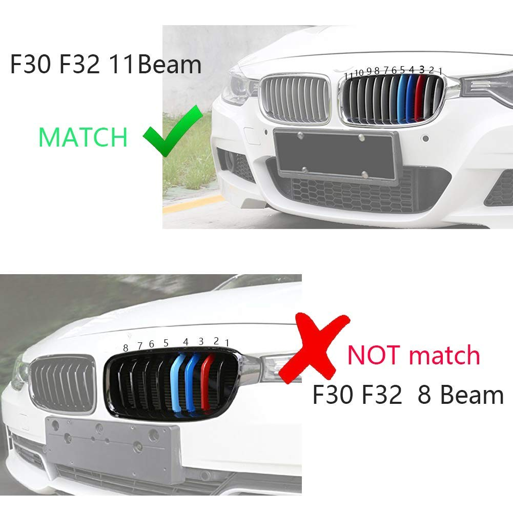 Grille Insert Trims for 2015-2017 BMW F45 F46 2 Series w//Standard Kidney Grille lanyun M Colored red Blue Light Blue 12-Beam ONLY
