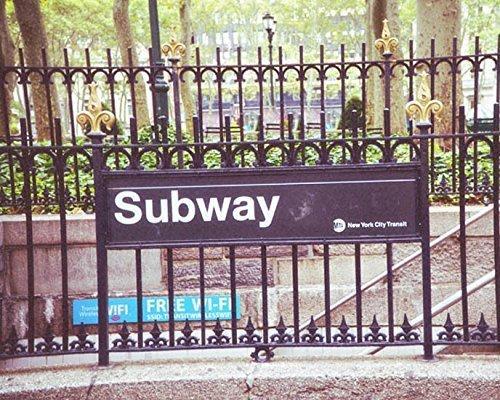 Subway Sign photo New York City photography urban decor 5x7 inch Print by Audra Edgington Fine Art