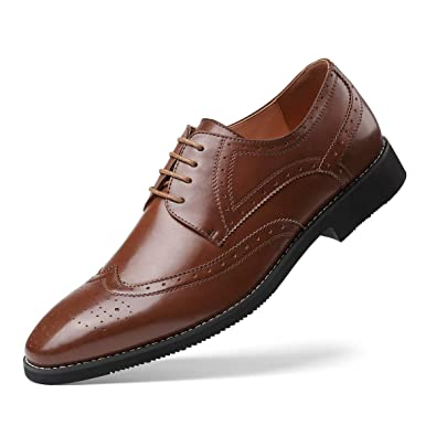 Amazon Mens Modern Dress Shoes Formal Wingtip Lace Up Oxford