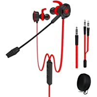 Plextone Wired Gaming Earphone with Detachable Long Microphone for PC,Mobile,PS4,Xbox,Tablet,Red
