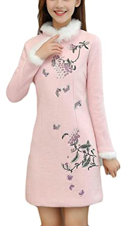648761c2110 ouxiuli Womens Faux Fur Slim Fit Embroidery Club Dress Peacoats Trench Coat  Pink XS