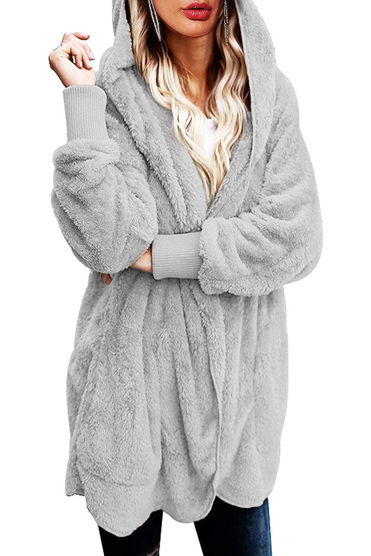Yanekop Womens Winter Open Front Loose Hooded Fleece Sherpa Jacket Cardigan  Coat larger image 20970e028