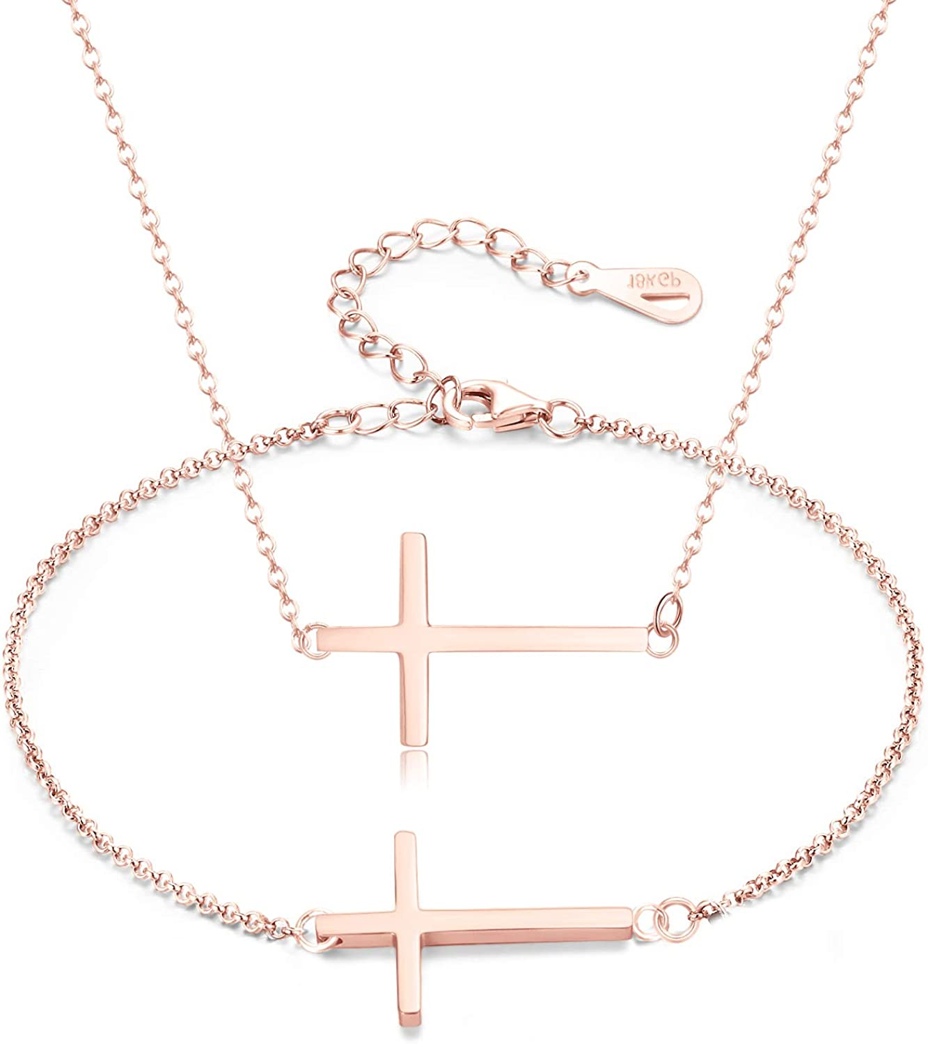 Cross stainless steel necklace and earrings Dainty necklace and earrings set Women/'s necklace Gold necklace Gold Cross jewelry Cross