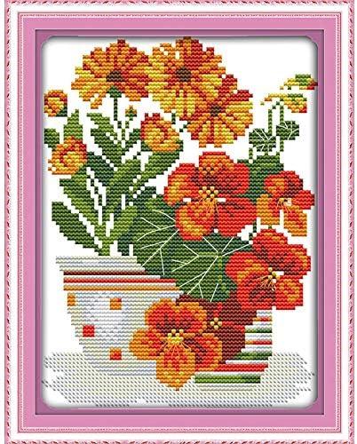 Ochoos - Kit de patrones de punto de cruz, diseño de flores rojas ...