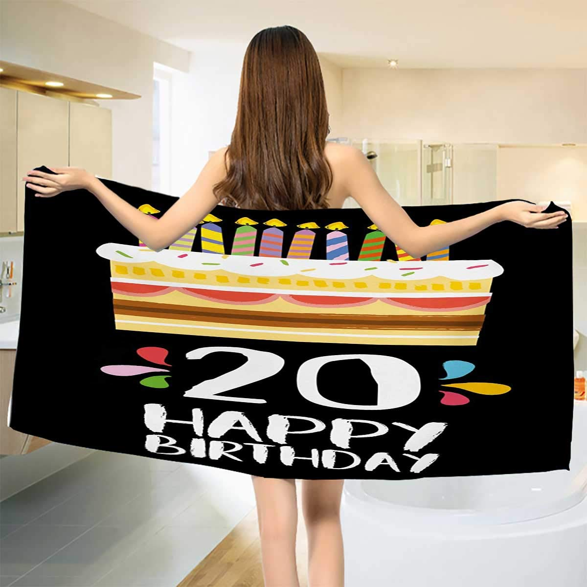 Chaneyhouse 2020-誕生日、タオル、スイートトゥエンティサプライズパーティーテーマ 抽象的な背景のイメージ、速乾プリントマイクロファイバー、Vemilion、ホットピンクサイズ:幅10 x 長さ10 インチ W 27.5