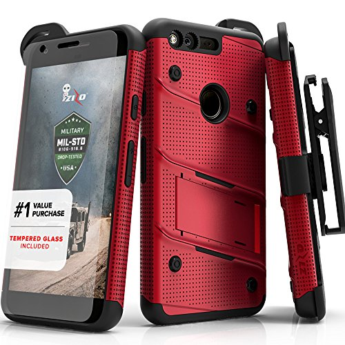 Zizo Bolt Series Compatible with Google Pixel XL w/ [Screen Protector] Kickstand [12 ft. Military Grade Drop Tested] Holster Clip (Red/Black)