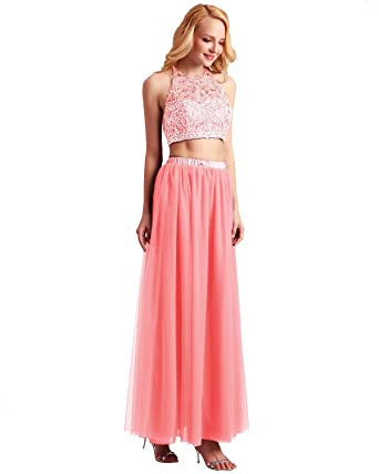 b454cd01d Bridesmay Women's Long Tulle Skirt Maxi Prom Evening Gown Bridesmaid Formal  Skirt Coral XS