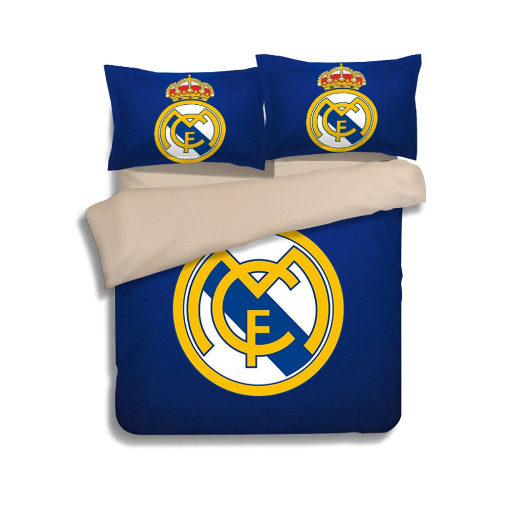 Jameswish Real Madrid Football Duvet Cover Set 3D Printed Bedding Linens Polyester Heavy-Duty Kids Favourite Bed Cover 3-Piece Including 1Duvet Cover 2Pillowshams King Queen Full Twin Size
