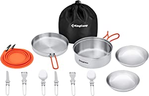 KingCamp Camping Cookware Mess Kit, Backpacking Cooking Set, Outdoor Camp Gear Accessories for Family Hiking Picnic Lightweight Cookware Sets