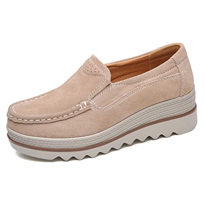 TSIODFO Women Platform Shoes Slip On Sneakers Comfort Flats Wedge Casual Shoes Beign Size 7.5 (3088-Beign-40) | Loafers & Slip-Ons