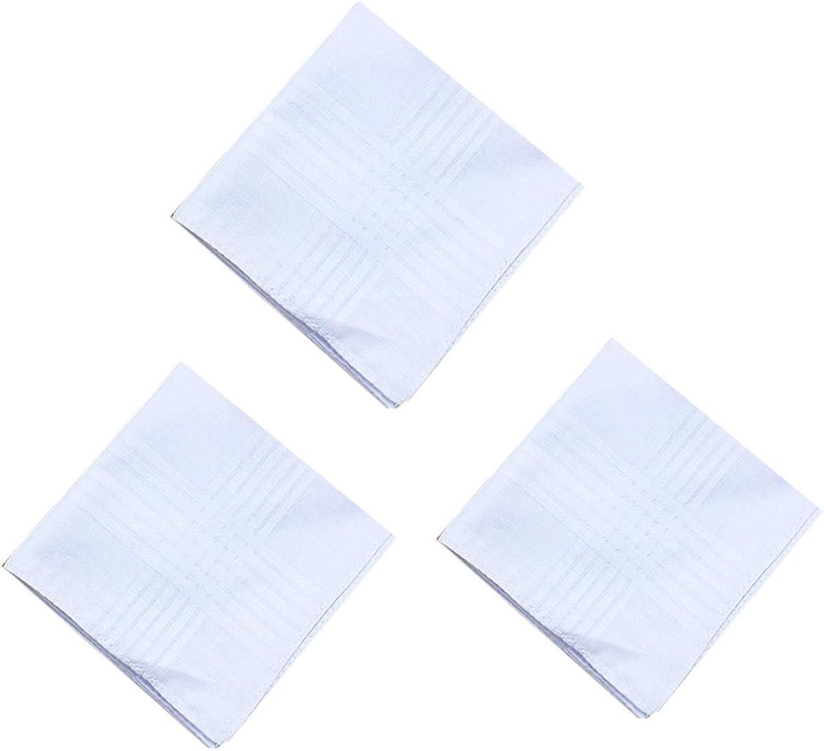 6 Strips Border STyle Mens White Cotton Handkerchiefs Pack