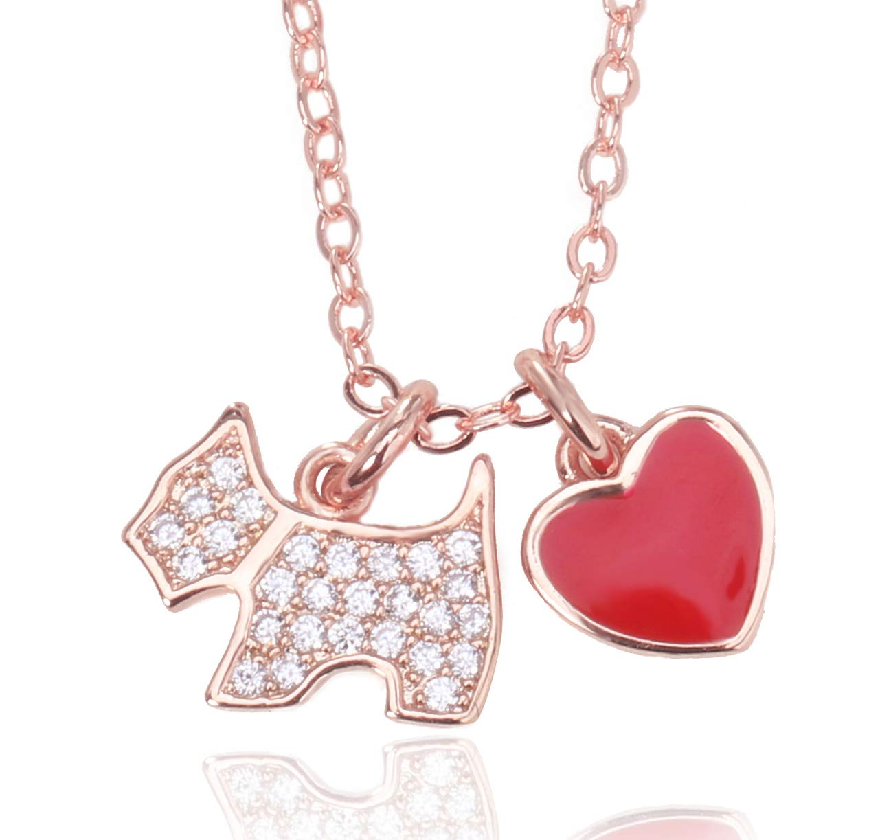Onlyfo 925 Silver Jade Diamond Accent Dog and Red Heart Pendant Necklace with Jewelry Box,Short Dog Necklace for Women (Rose Gold)