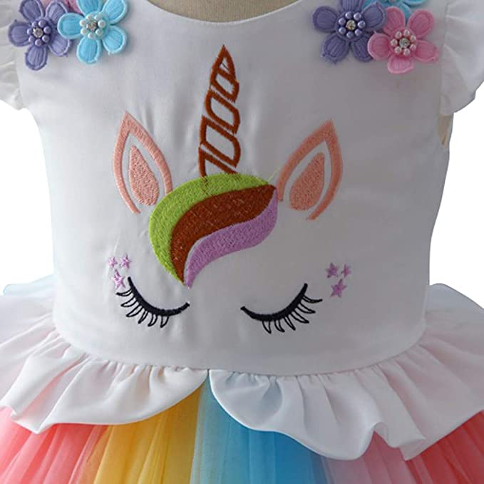 eb9a75fa4a Girls Unicorn Costume Rainbow Cosplay Fancy Dress Up Princess Ruffled Tulle  Tutu Skirt Birthday Party Outfits Kids Baby Pageant Carnival Halloween  Christmas ...