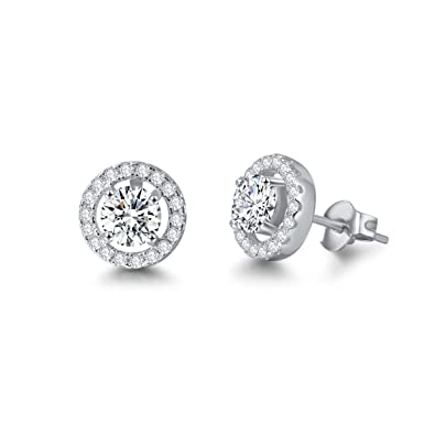 2cf5d0ec3 Carleen 14K White Gold Plated 925 Sterling Silver CZ Cubic Zirconia/Created Opal  Halo Stud