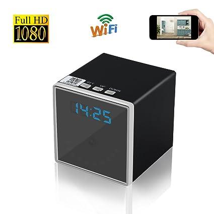 Reloj Espía Cámara UYIKOO Cámara Oculta Inalámbrica 1080P WiFi Reloj Cuadrado Cámara con Visión Nocturna para