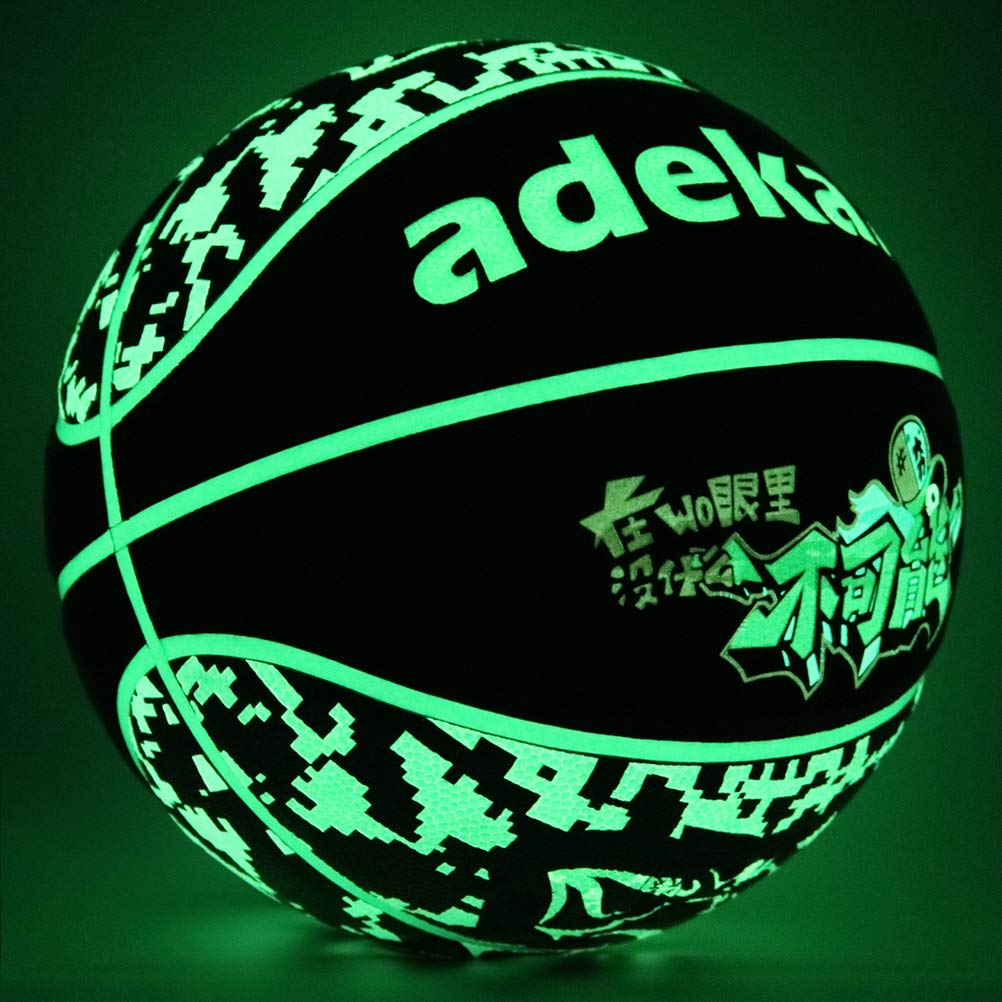 Official Size Basketball Holographic Glow in the Dark Reflective Basketball Indoor and Outdoor Use Houkiper Light Up Basketball