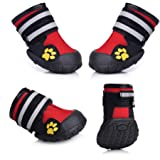 Fantastic Zone Waterproof Dog Shoes Non-Slip Dog Boots for Various Size 4pcs, Red