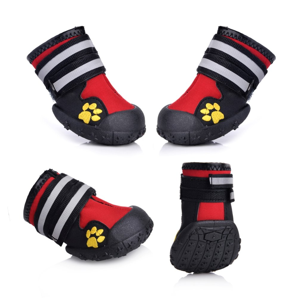 Red 8 (3.3\ Red 8 (3.3\ Waterproof Dog shoes, Dog Boots for Labrador Retriever, Keep Warm in Winter, 4pcs