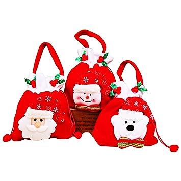 KeFan 3 Holiday bolsas de dulces para Navidad, terciopelo con cordón cordón bolsa de regalo árbol de Navidad.