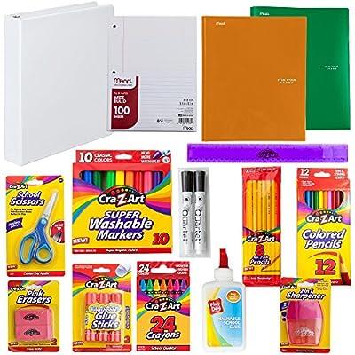 Back to School Supply Kit: Crayons, Markers, Pencils, Sharpener, Scissors, Ruler, Eraser, Filler Paper, Binder, Portfolios, Glue Sticks   First, Second, Third, Fourth, Fifth & Sixth Grade.