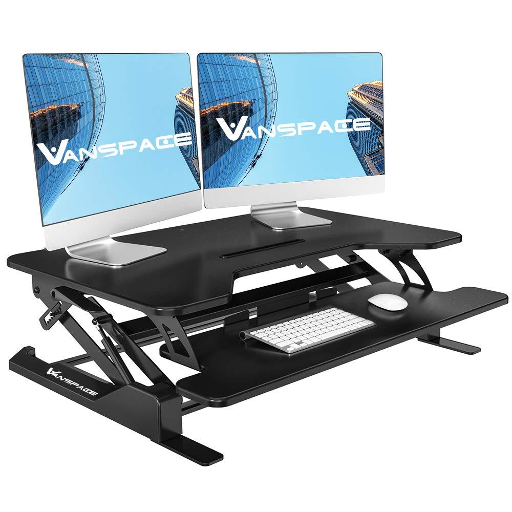 Height Adjustable Standing Desk Converter-36 Wide Platform Black Stand Up Desk Computer Riser Tabletop Workstation with Removable Keyboard Tray for Desktop Laptop Dual Monitor by Vanspace