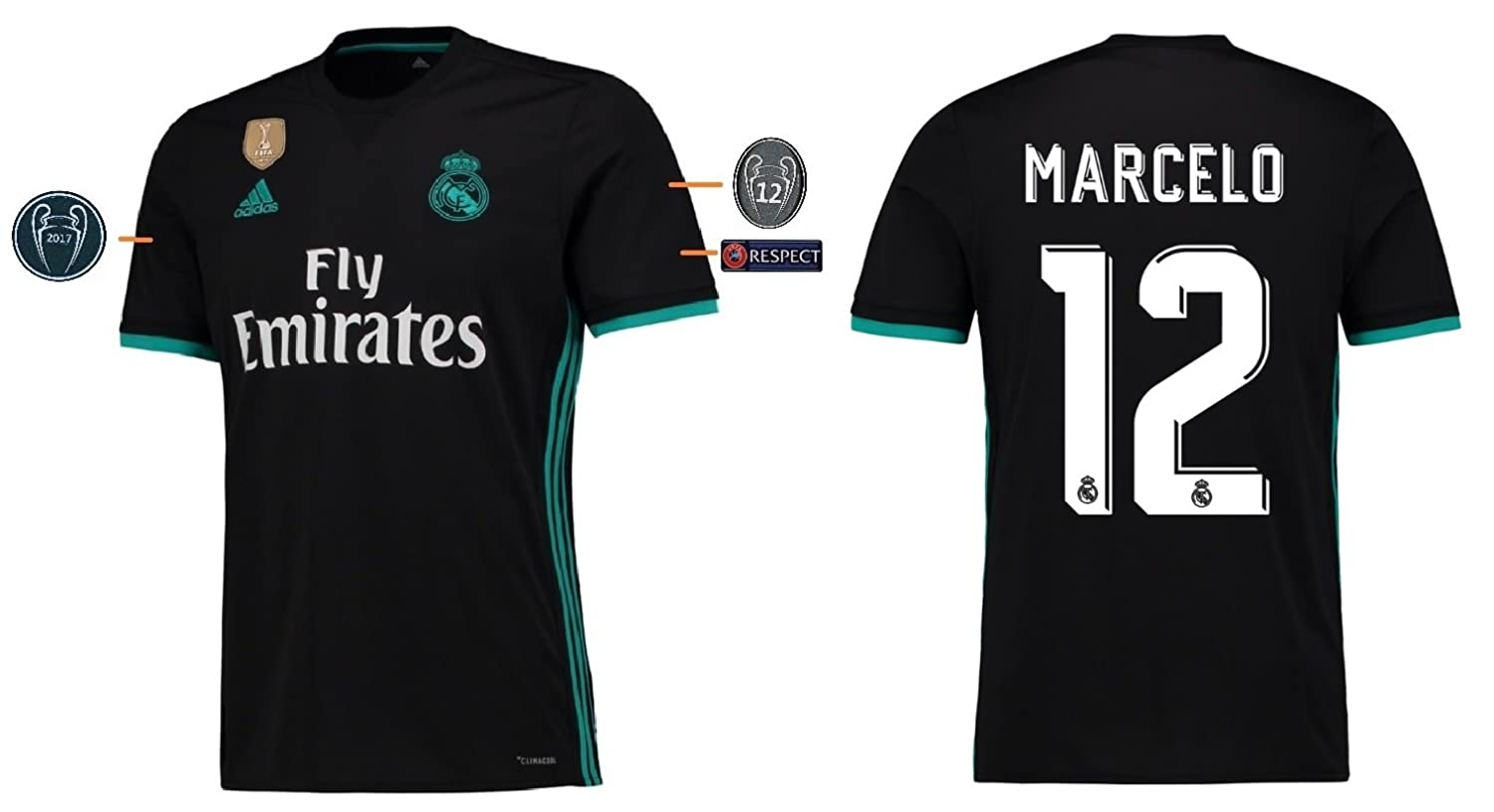 Real Madrid Trikot Kinder 2017-2018 Away UCL - Marcelo 12