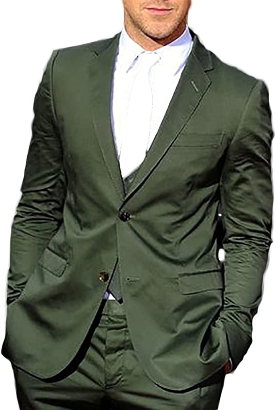 Amazon.com: Botong Green Summer Men Suits 2 Pieces Groom ...