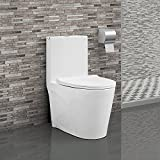 Kyпить Swiss Madison SM-1T254 St. Tropez One Piece Toilet Dual Tornado Flush 0.8/1.28 GPF with Soft Closing Seat, Comfort Height на Amazon.com