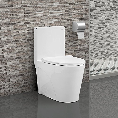 Swiss Madison SM-1T254 St. Tropez One Piece Toilet Dual Tornado Flush 0.8/1.28 GPF with Soft Closing Seat, Comfort Height - Soft Closing Seat