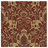 Blooming Wall Gold Red Coconut Palm Temple Elephant Design Wallpaper Roll for Livingroom Bedroom, 20.8 In32.8 Ft=57 Sq ft Per Roll, Gold/Red (Wallpaper-Elephant)