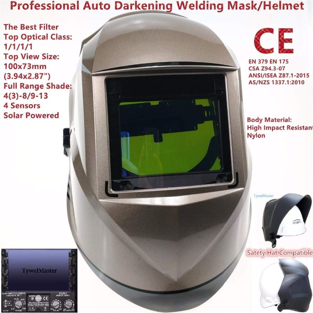 YUANYUAN521 Welding Mask Top Size 100x73mm(3.94x2.87) Top Optical Class 1111 4 Sensors Shade Range 4(3)-13 Auto Darkening Welding Helmet CE by YUANYUAN521