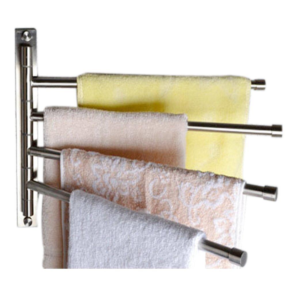 Tebery Wall Mounted Stainless Steel Swivel Towel Bar Rack Bathroom Towel Holder - 4 Bars