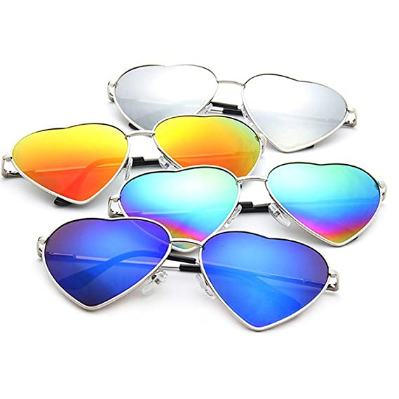 millya Retro Metallrahmen herzförmig Sonnenbrille UV400 Schutz farbig Farbverlauf Film Brillen Brillen Brille - Bunt, One size