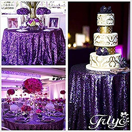 TRLYC 70% Off More Sizes Purple Sequin Tablecloth for Wedding Event Supplies Choose Size 72'' to 196''