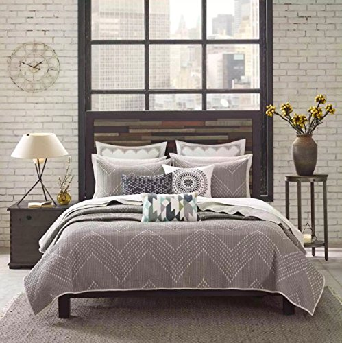 3 Piece Full/Queen, Classic Geometrical Pattern Coverlet Set, Contemporary Stylish Chevron Printed Design, Casual Abstract Themed, Elegance Doted Bedding, Adorable Grey, Taupe Brown Color Unisex by AF ULTRA