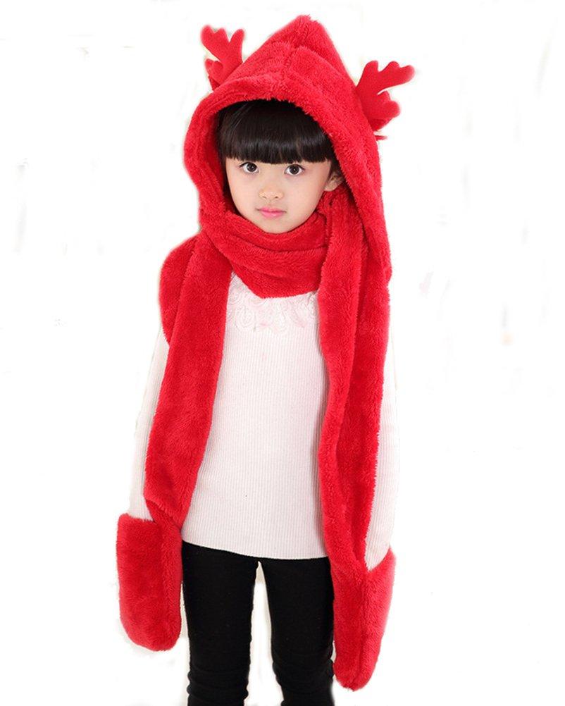 Children Winter 3 in 1 Hoodie Hat with Glove Scarf, OKSakady Kid Multi-functional Soft Thick Warm Fleece Hat Scarf Glove Set