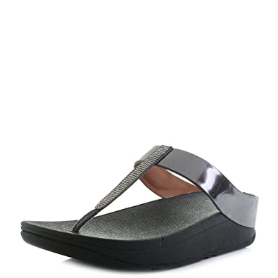 f17d2d349d48a2 Fitflop Womens Fino Crystall Toe Post Pewter Sandals Size 7  Amazon.co.uk   Shoes   Bags