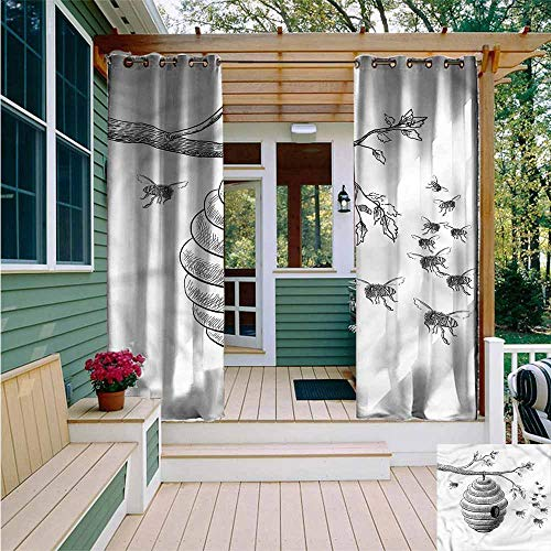 Beihai1Sun Outdoor Blackout Curtain,Nature Hand Drawn Honeycomb,for ()