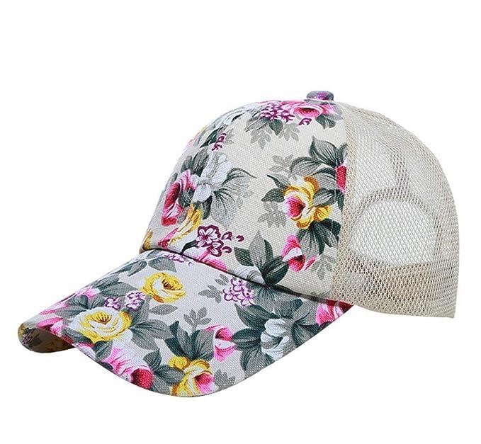 Sombrero De Mujer Patrón Floral Y Malla Poliéster Hip Hop Gorra De Béisbol Joven Deporte Protector Solar Gorra Chica Women (Color : Beige, Size : One Size): ...