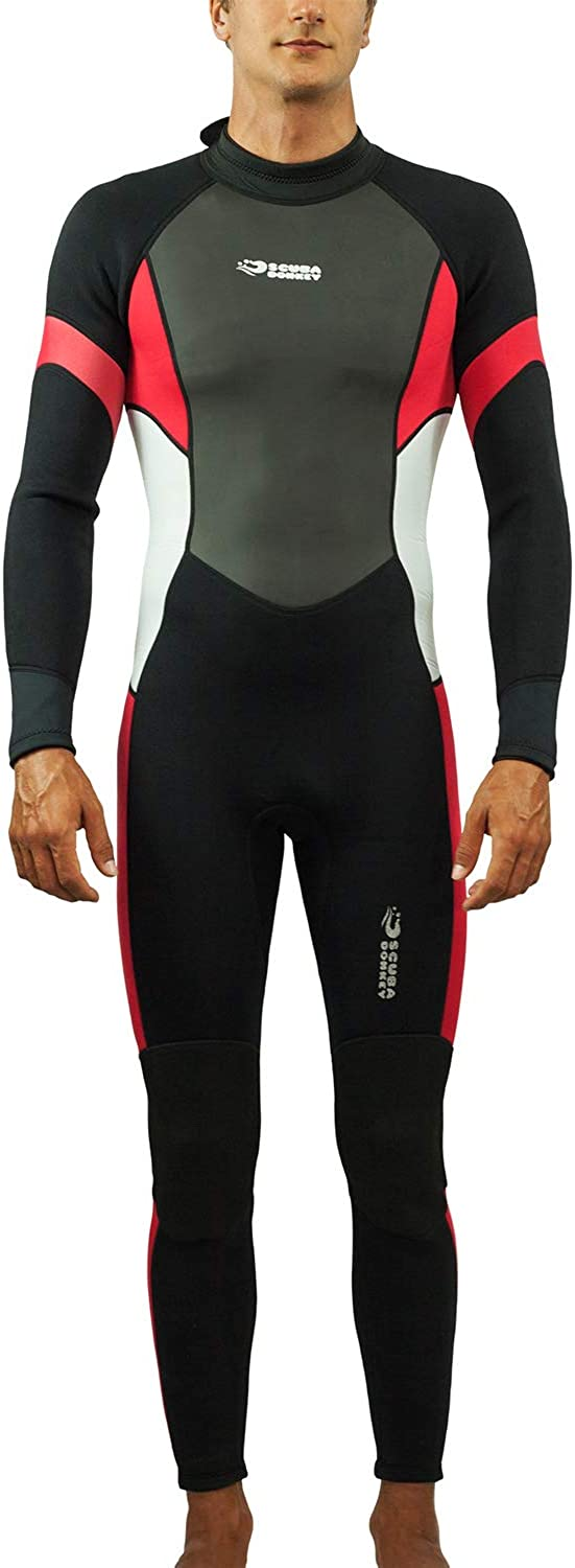 Scubadonkey Surfing Scuba Diving Full Body Wetsuit for Men 3mm Neoprene Shark Skin Chest Panel Super Stretch Neck and Cuffs
