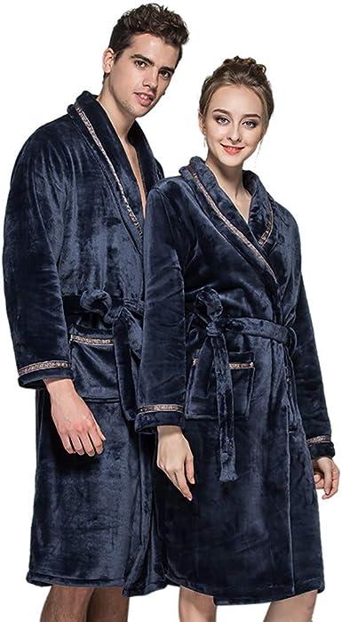 Men Women Warm Winter Flannel Bathrobe Thicken Nightgown Comfy Sleepwear New